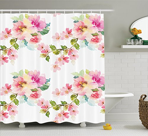 Ambesonne Flower House Decor Collection, Springtime Colorful Pastel Blooming Watercolor Wildflowers and Leaves Pattern, Polyester Fabric Bathroom Shower Curtain, 84 Inches Extra Long, White Pink Green