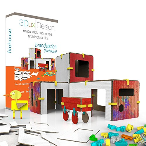 3Dux/design Fire Station Architecture Set - DIY Design, Build & Paint Toy for Kids STEAM Education - 80 Easy to Assemble and Reusable Pieces to Make Building and Fireman - Open Ended Creative Play -