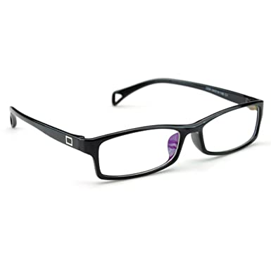 pensee fashion horned rim rectangular eye glasses frames clear lens black