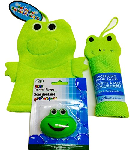 Children's Bath Buddies- Delightful and Friendly Green Frogs! Soft Microfiber Hand Towel and Bath Puppet Plus Green Froggy Dental Floss Dispenser! 3-piece Bundle - Soft Frog Puppet