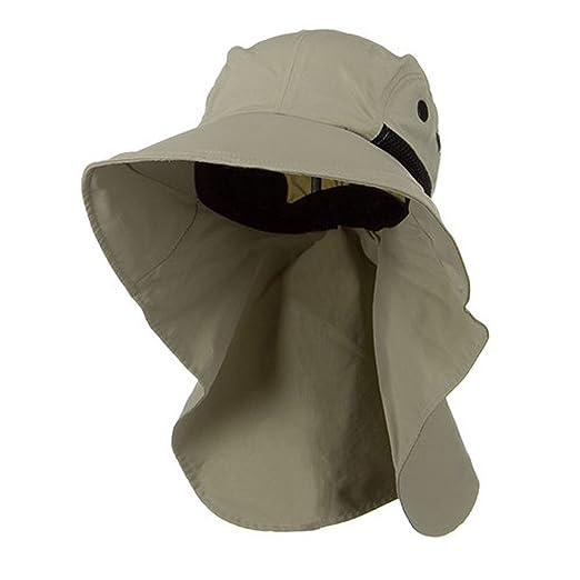 98d212cb885 Juniper Men s Khaki Wide Brim Outdoor Sun Flap Hat at Amazon Men s ...