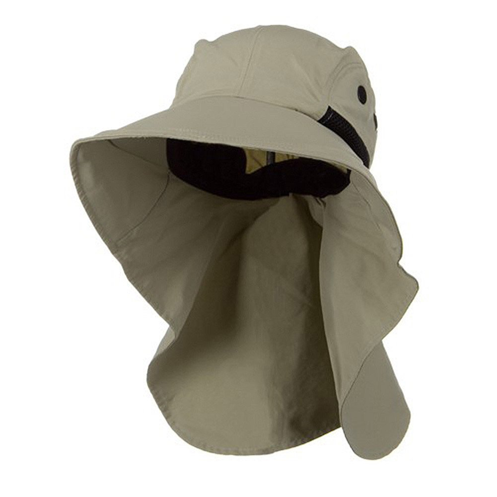 Juniper Men's Khaki Wide Brim Outdoor Sun Flap Hat