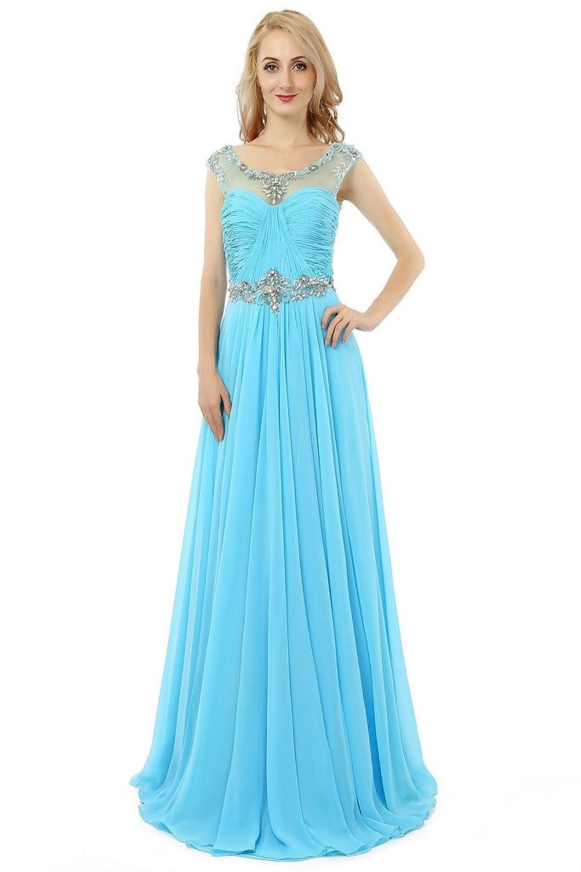 HONGFUYU Women's Charming Beaded Neck Chiffon Long Prom Dresses Formal Party Evening Dress