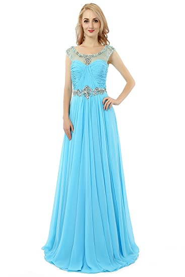 HONGFUYU Womens Charming Beaded Neck Chiffon Long Prom Dresses Formal Party Evening Dress Sky Blue UK6