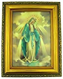 Italian Lithograph Our Lady of Grace Print in Antique Gold Tone Frame with Glass, 6 1/2 Inch