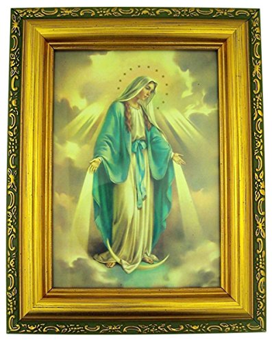 Italian Lithograph Our Lady of Grace Print in Antique Gold Tone Frame with Glass, 6 1/2 Inch (Lady Image)