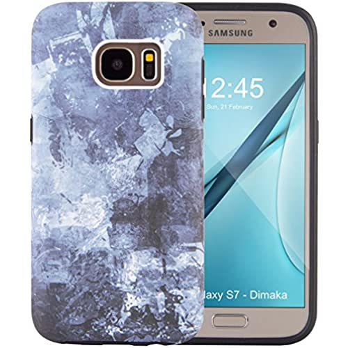 Galaxy S7 Case, Dimka Double Layer Pattern Case with Raised Lip and inked print, protective and drop proof case for S7 (Abstract Jean) Sales