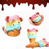 BKpearl Kawaii Jumbo Slow Rising Squishies Cream Scented Squeeze Kid Toy Phone Charm Gift for Stress Relief (Bear ice cream)