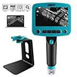 HINOY Digital Portable USB Microscope Camera, 4.3 inches HD LCD 1x to 800x Magnifier Zoom 5Mpix Wireless Microscope with 8 Adjustable LED Lights Inspection Photograph Video Camera Handheld Microscope