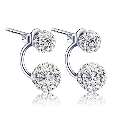 Price comparison product image BEAUTY Crystal Ball Earring 925 Sterling Silver Rhinestone Double Ball Earring Jewelry For Women / Mother's Day Gift