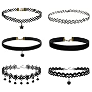 Amazon #LightningDeal 93% claimed: LOLIAS 6-8PCS Womens Black Velvet Choker Necklace for Women Girls Lace Choker Gothic Tattoo Necklace