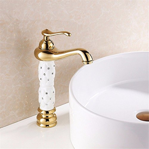 Hlluya Professional Sink Mixer Tap Kitchen Faucet Antique wash basins taps Copper Material Gold Insert Drill Bench Basin Mixer Bathroom Sink hot and Cold tap, White -
