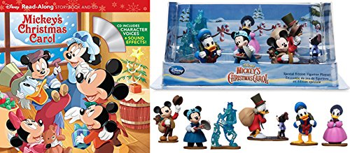 Disney Mickey's Special Edition Christmas Carol Figurines, Set of 7 + Read-Along Storybook and CD 2-Pack Bundle (Carol Christmas Ducktales)