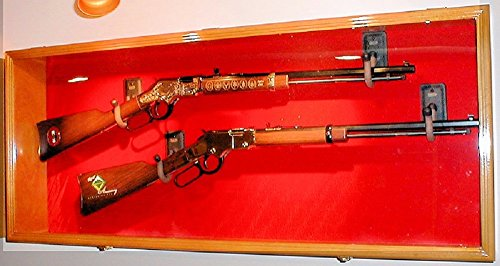 2 Rifle Musket Gun Shotgun Display Case Cabinet Rack Airsoft Replica Wall Mount (Walnut Finish, Red Background)