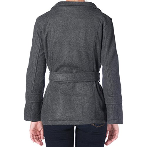 YMI Womens Juniors Faux Wool Double Breasted Pea Coat Gray XL by YMI (Image #1)