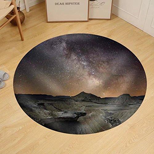 Gzhihine Custom round floor mat Milky Way over the Desert of Bardenas Spain by Gzhihine