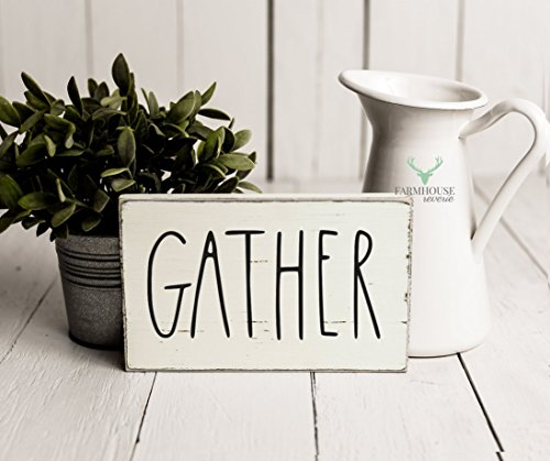 Rustic Gather Sign | Rustic Wood Sign | Farmhouse Sign | Inspired Rae Dunn Sign | Rustic Home Decor | Farmhouse Home Decor | French Farmhouse Decor | Shabby Chic Decor | Primitive Decor