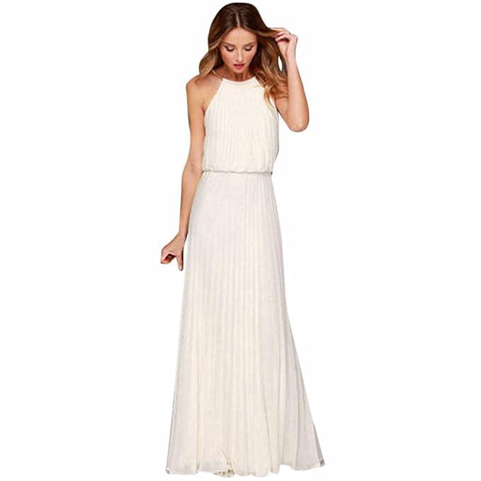 044f8ebea75d Landove Abito Lungo Donna Elegante Vestito Senza Maniche Estivo Vestiti di  Chiffon Boho Abiti da Sera