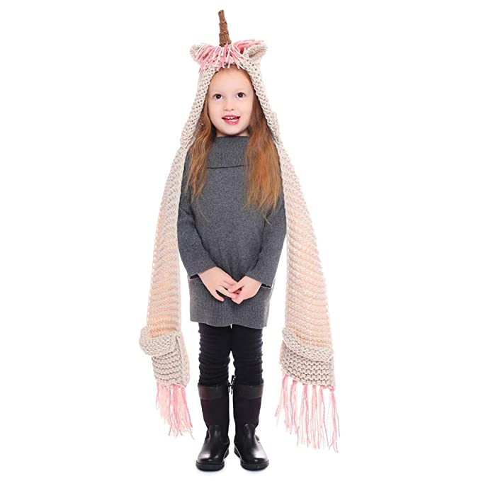7f383b91e7d28 Image Unavailable. Image not available for. Color  Unicorn Winter Hat with Scarf  Pocket Hooded Knitting Crochet Beanies Cosplay Photography ...