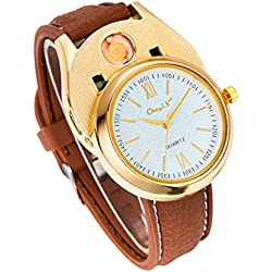 Ckeyin ® Unisex Sporty wristwatch with USB Electronic Rechargeable Windproof Flameless Cigarette Lighter-White