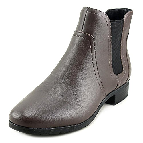 Easy Spirit Womens Nalli Ankle Bootie Dark Taupe/Black Leather