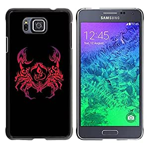 Carcasa Funda Prima Delgada SLIM Casa Case Bandera Cover Shell para Samsung GALAXY ALPHA G850 / Business Style Abstract Crab Red Art