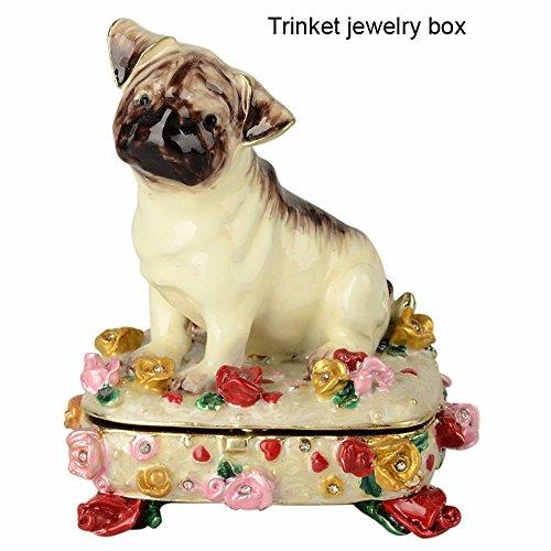 - Pug Crystal Jeweled Necklace Jewelry Dog Trinket Storage Box Animal Figurine