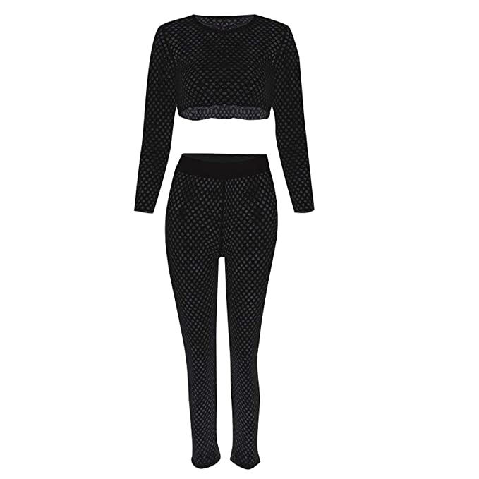 01202f1d8d14b Women's Fishnet Hollow Out Beach Cover up Sets Long Sleeve Mesh Crop Top  Knitted Long Pants