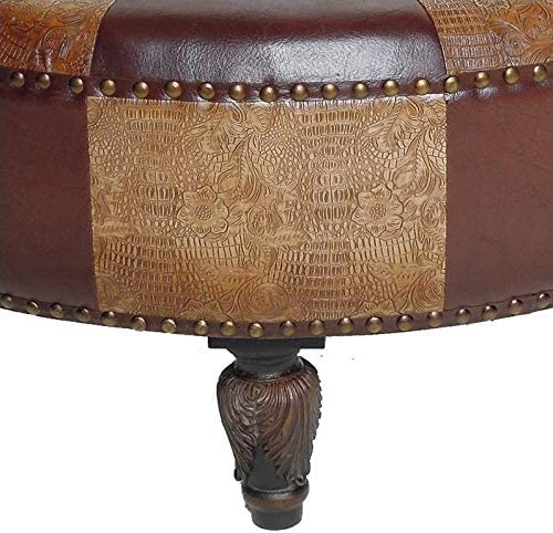 Pemberly Row Faux Leather Half Moon Ottoman in Brown Mix Pattern