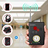 Xelparuc Anti Spy Camera Bug RF Signal Detector, Handheld Rechargeable Wireless Hidden Camera GPS Tracker, Higher Sensitivity Multi-Functional Laser Lens GSM Device Finder with Adapter and Earphone