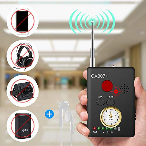 Xelparuc Anti Spy Camera Bug RF Signal Detector, Handheld Rechargeable Wireless Hidden Camera GPS Tracker, Higher Sensitivity Multi-Functional Laser Lens GSM Device Finder with Adapter and -