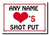 Love Heart Shot Put Personalized Jumbo Magnet