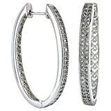 Montana Silversmiths Shining Rhinestone Oval Hoop Earrings - Rhodium Plated Clear