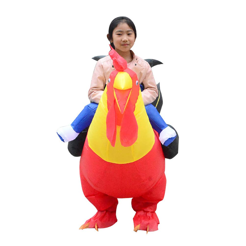 Cock Inflatable Doll Costume Holiday Riding Chicken Inflatable Costume Halloween Cosplay Costumes for Audlts Kids Red BYyushop Inflatable Clothing Stage Performance Clothing