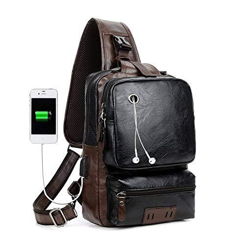 Men's Sling Bag, Crossbody PU Leather Shoulder Backpack with USB Charging Port, Vintage Chest Bag for Men (Black) ()