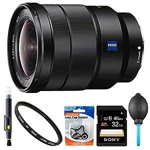 Sony SEL1635Z 16-35mm Vario-Tessar Lens Accessory Bundle Includes: Sony SEL1635Z 16-35mm Vario-Tessar T FE F4 ZA OSS Full-frame E-Mount Lens, 72mm UV Filter, 32GB SDHC Memory Card, Lens Blower, Lens Cap Keeper, & LCD/Lens Cleaning Pen