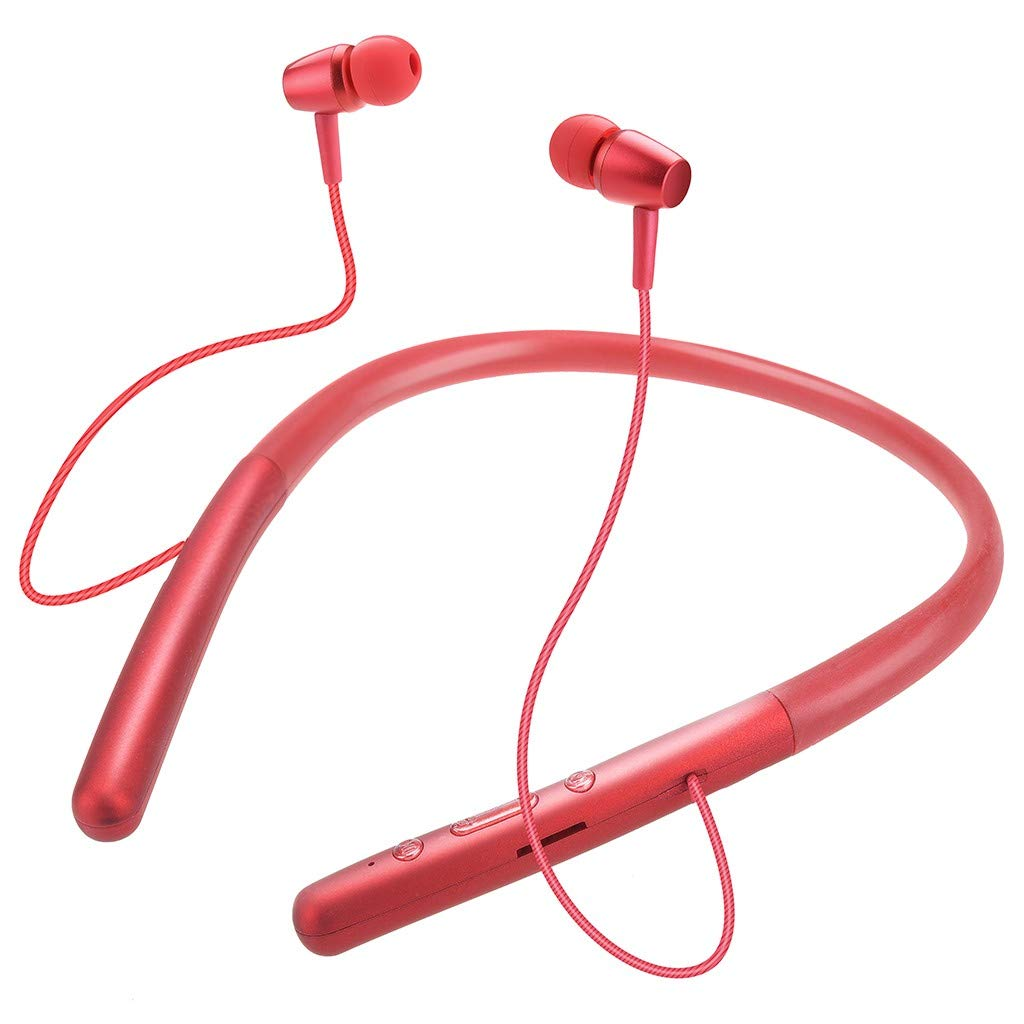 Neckband Wireless Headset True Sports Stereo Magnetic in-Ear Bluetooth Earphone Built-in Mic Neck Hook Earbuds Noise Cancelling Instant Pairing Headphone