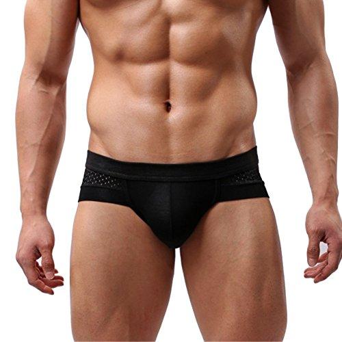 Men's Briefs Classic Underwear Low Rise Bikinis Shorts Trunks Boxer Briefs Black XL Second Skin Bikini