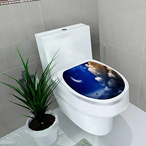 Home Decoration Eid Mubarak with Shiny Moon and Stars Toilet Cover Stickers W13 x L13