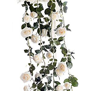wintefei 180cm Artificial Rose Flower Ivy Vine String Hanging Home Wedding Party DIY Decor Giftation - White 91
