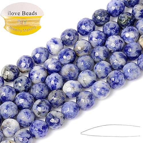 ILVBD Natural Faceted Blue White Stone Beads 4/6/8/10/12MM Loose Beads for Jewelry Making One Strand 15