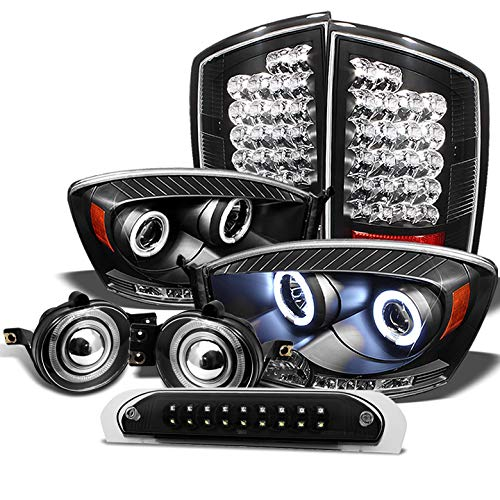 Halo Projector Fog Lights Lamps - Xtune for 2007-2009 Dodge Ram Black Projector Headlights + LED Tail Lights + LED 3rd Brake Lamp + Halo Projector Fog Lights 08