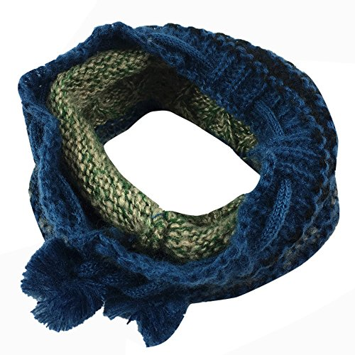 Bolayu Unisex Winter Knitted Neck Cowl Collar Scarf Shawl Dual-Use Hat Scarves (Green)