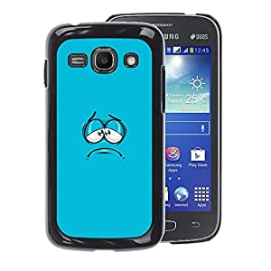 A-type Arte & diseño plástico duro Fundas Cover Cubre Hard Case Cover para Samsung Galaxy Ace 3 (Blue Cartoon Face Aqua Minimalist)