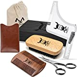 Beard Grooming Kit of Sandalwood Comb and Natural Boar Bristle Beard Brush Set With Beard Shaping Tool And Beard Scissors - With Gift Box