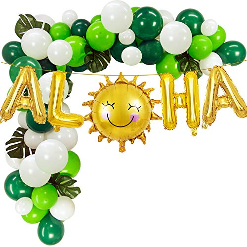 Gold ALOHA Foil Balloons with White Green Latex Balloons for Hawaiian Party -