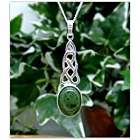 "Celtic Jade Oval Sterling Silver Necklace Gemstone Pendant 18"" chain"