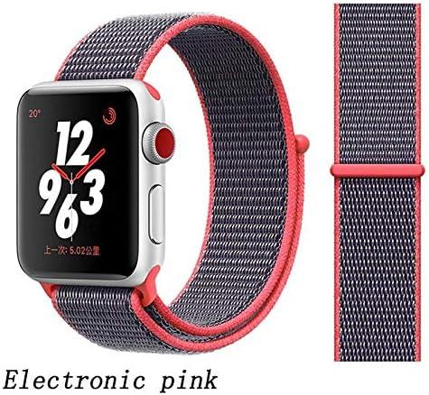 JWJY ユニバーサル・ウォッチバンド44ミリメートル40ミリメートル42ミリメートル38ミリメートルのナイロンブレスレット時計バンド44/42 (Band Color : Electronic pink, Band Width : 42mm or 44mm)
