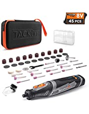 TACKLIFE Cordless Rotary Tool 8V Power 2.0 Ah Li-ion Battery with 42 Accessories and Shield Attachment, Long Endurance Power- Perfect for Sanding, Grinding, Cutting and Engraving -RTD02DC