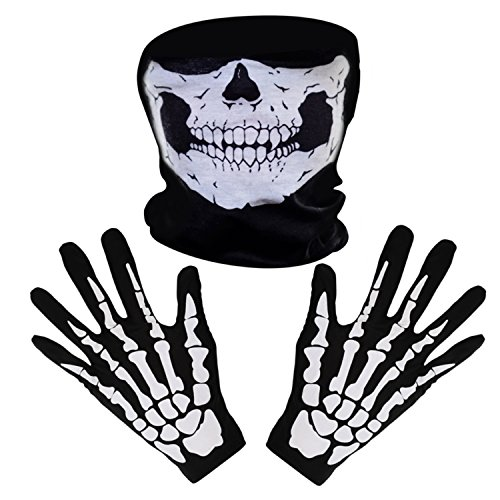 Pangda 2 Set White Skeleton Gloves and Skull Face Mask Ghost Bones for Adult Halloween Dance Party (Awesome Ghost Costume)